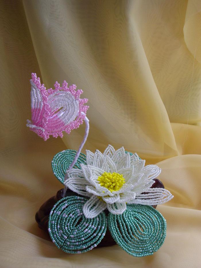 Роза из бисера (французское плетение) - Орхидея из бисера (мозаичное плетение) - Плетение Бисероплетение - Браслеты...